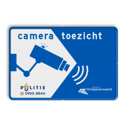 Cameratoezicht met logo / (bedrijfs)naam - BP11 privé terrein, verboden, camerabewaking, toezicht, politie, gemeente, cameraregistratie, camera, bewaking, eigen terrein, beveiliging, videoregistratie, BP06, Preventie, Toezicht