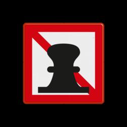 Scheepvaartbord Verboden af te meren. Toepassing van dit teken vindt plaats in situaties, waar de doorgaande scheepvaart hinder ondervindt van gemeerd liggende schepen. Als voorbeeld is te noemen het nemen van ligplaats nabij beweegbare bruggen, anders dan voor wachten op brugpassage. Het teken kan eveneens worden gebruikt ter markering van een gereserveerde ligplaats. Op een onderbord moet in dat geval worden vermeld voor welke categorie het verbod niet geldt, bijvoorbeeld met uitzondering van politie. Scheepvaartbord BPR A. 7 - Verboden af te meren A. 7 scheepvaart, water, boei, aanlegverbod, verboden aan te leggen, verboden af te meren, BPR A. 7, verbodstekens, verbodsborden, waterweg, waterwegen, scheepvaarttekens, verkeerstekens,