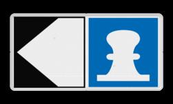 Scheepvaartbord Toestemming af te meren aan de zijde van de pijl. De toestemming aan de oever of het remmingwerk af te meren, en niet te ankeren, geldt aan de zijde van de vaarweg waar het bord is geplaatst voor alle categorieën schepen. Wanneer kegelschepen van de ligplaats gebruik maken, dienen de voorgeschreven veiligheidsafstanden tussen schepen in acht genomen te worden. Scheepvaartbord BPR E. 7 + F.2a - Toestemming af te meren aan de zijde van de pijl aanmeren, schip, E7, aanleggen, aanwijzingstekens, aanwijzingsborden, waterweg, waterwegen, scheepvaarttekens, verkeerstekens,
