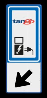 Verkeersbord RVV BW101_SP19+logo - BE08 BE08 Elektrische, groene stroom, BW101, oplaadpunt, auto laden, autolaadpunt, laadpaal, oplaadpalen, Oplaadpaal, BE04, Tango, OR000 Elektrisch laden, 05 Links omlaag