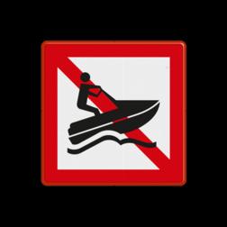 Scheepvaartbord Verboden voor waterscooters. Dit teken kan worden gebruikt om waterscooters te verbieden, met name daar waar het snelvaren in zijn algemeenheid is toegestaan, maar het gebruik van waterscooters niet gewenst is. Scheepvaartbord BPR A.20 - Verboden voor waterscooters A.20 water, A20, BPR, verboden, waterscooters, scooters, verbodstekens, verbodsborden, waterweg, waterwegen, scheepvaarttekens, verkeerstekens