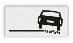 Verkeersbord Onderbord - rechts zachte berm Verkeersbord RVV OB18r - Onderbord - rechts zachte berm OB18