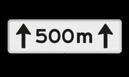 Verkeersbord Onderbord - Afstands-aanduiding over een lengte van.. M Verkeersbord RVV OB411-500 - Onderbord - Afstands-aanduiding over een lengte van.. M OB411