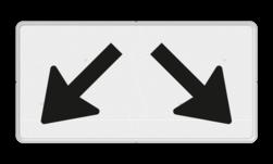 Verkeersbord Onderbord - Geldt voor twee parkeervakken Verkeersbord RVV OB504 - Onderbord - Geldt voor twee parkeervakken OB504 wit bord, pijlen, schuinen pijlen, OB504