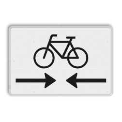 Verkeersbord Onderbord - Kruising fietspad Verkeersbord RVV OB503OB02 - Onderbord - Kruising fietspad OB503OB02 fiets, pijlen, rechts en links, wit bord, OB503, OB02, OV0455, 0455, OB503OB02
