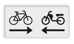 Verkeersbord Onderbord - Kruising (brom)fietspad Verkeersbord RVV OB503OB04 - Onderbord - Kruising (brom)fietspad OB503OB04 fiets, brommer, pijlen, rechts en links, wit bord. OB503, OB04, OB503OB04