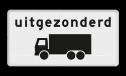Verkeersbord Onderbord - Uitgezonderd vrachtauto's Verkeersbord RVV OB61 - Onderbord - Uitgezonderd vrachtauto's OB61