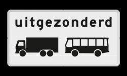 Verkeersbord Onderbord - Uitgezonderd vrachtauto's en bussen Verkeersbord RVV OB63 - Onderbord - Uitgezonderd vrachtauto's en bussen OB63
