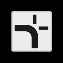 Verkeersbord Verloop voorrangsweg voor kruispunt Verkeersbord RVV OB711 - Verloop voorrangsweg voor kruispunt OB711 doorgaande weg, rijrichting, wit bord, kruising, kruispunt, OB711