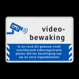 Videobewaking - Informatiebord Reflecterend - BP06 cameraregistratie, camera, bewaking, eigen terrein, beveiliging, videoregistratie, BP04, Preventie, Toezicht