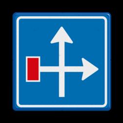 Verkeersbord Voorwaarschuwing doodlopende weg Verkeersbord RVV L09-4r - Doodlopende weg - voorwaarschuwing L09 doodlopende weg, l9, versperring, geen doorgang, L9, geen doorgaande weg, vooraanduiding, voorwaarschuwing