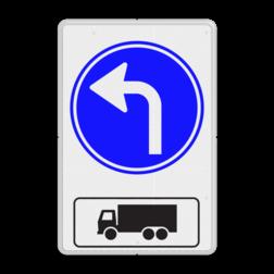 Routebord Route voor vrachtwagens + RVV D05 (links) Routebord RVV D05l + picto - BT15l BT15l eigen terrein, vrachtwagen, richting, D05l, D05r, D05, OB11, linksaf