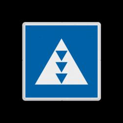 Scheepvaartbord Ligplaatsen voor duwvaart met drie kegels. Ligplaatsen voor het afmeren of ankeren van duwvaart, die verplicht is door de aard van de lading drie blauwe kegels voeren. Scheepvaartbord BPR E. 5. 7 - Ligplaatsen voor duwvaart met drie kegels E. 5. 7 E5. E5.7, water, kegel voerende duwvaart, aanwijzingstekens, aanwijzingsborden, waterweg, waterwegen, scheepvaarttekens, verkeerstekens,
