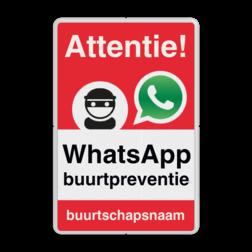 WhatsApp Attentie Buurtpreventie Informatiebord 02 - L209wa-r L209wd Whats App, WhatsApp, watsapp, preventie, attentie, buurt, L209