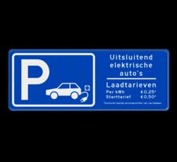 Verkeersbord parkeren elektrische voertuigen + tarieven
