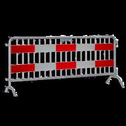 Dranghek 19 spijlen met vol reflecterende panelen klasse 3 rood/wit geledebaak, baken, hek, afzethek, planken, afzetmateriaal