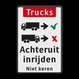 Informatiebord Vrachtwagens achteruit inrijden of inparkeren Informatiebord - vrachtwagens achteruit inrijden BT16a-NL trucks, engels, achteruit, inparkeren, vrachtwagen, Back-in, No turnaround