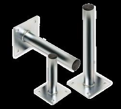 Rechte muur-, grond- of plafondbeugel Ø48mm - Aluminium gevelbevestiging, gevel, wandmontage, muurbeugel