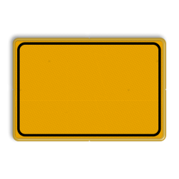 Tekstbord WIU geel met kader / zonder tekst Fluor geel / gele rand, (RAL 1023 - geel), Hier uw eigen, tekstregels, klik op bewerken >