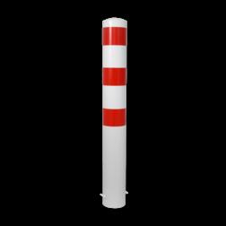 Rampaal Ø89x900mm met diverse montageopties, wit/rood Rampaal, Afzetpaal, Ramkraak, Magazijn, Inrichting, Juwelier, Bank, Ramzuil, veilig, ram, Menhir, Beveiliging
