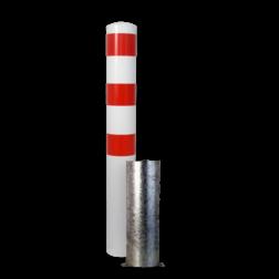Rampaal Ø193x1500mm, diverse montageopties, verzinkt of wit/rood Stalen paal, anti kraak, aanrijbeveiliging, Rampaal, Afzetpaal, Ramkraak, Magazijn, Inrichting, Juwelier, Bank, Ramzuil, veilig, ram, Menhir, Beveiliging