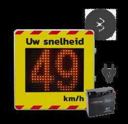 Snelheidsdisplay LED voor vaste spanning 230V + front reflecterend in huisstijl smiley bord, snelheidsdisplay, indicator, snelheid,