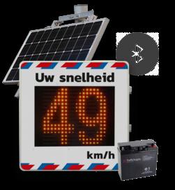 Snelheidsdisplay LED met zonnepaneel + front reflecterend in huisstijl snelheidsdisplay, smileybord, snelheidsindicator, SID, zonnepaneel, solar, sierzega