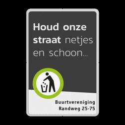 Mottobord aluminium - Houd de buurt schoon + tekstvlak Zwarte rand witte basis, (RAL 9005 - zwart), Scholen zijn weer begonnen, A01-030, Logo TrafficSupply bV