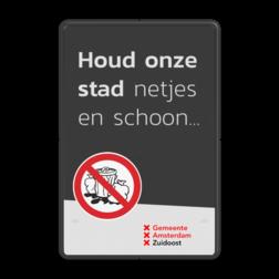 Mottobord aluminium - Houd onze stad schoon + logo Zwarte rand witte basis, (RAL 9005 - zwart), Scholen zijn weer begonnen, A01-030, Logo TrafficSupply bV