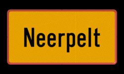 Gemeentegrensbord België - zelf ontwerpen Fluor geel / rode rand, (RAL 3020 - rood), KOBBEGEM