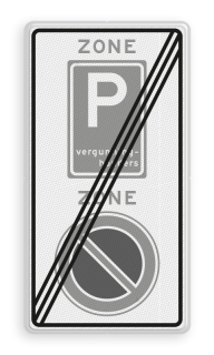 Verkeersbord RVV E01E09ze - ZONE bord einde A01, ZONE, parkeren verboden, E09, vergunninghouders