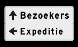 Parkeerroutebord 2 regelig + pijl links - eigen tekst