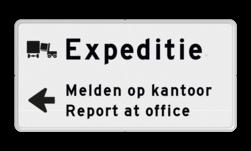 Routebord expeditie 2 regelig + pijl links - eigen tekst routebord, camping, eigen terrein, bezoekers
