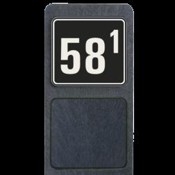 Huisnummerpaal met bord reflecterend 119x109mm buitengebied, huisnummer, nummer, huis, buiten, gebied, paal, Modern, huisnummerbord, Huisnummerpaal, Huisnummerpalen