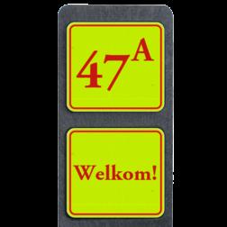 Huisnummerpaal met BORD Fluor Klassiek met tekst buitengebied, huisnummer, nummer, huis, buiten, gebied, paal, Klassiek, huisnummerbord, Dubbel, Fluor, Huisnummerpaal, Huisnummerpalen, tekstbord