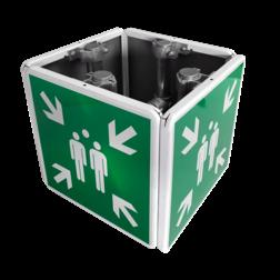Verzamelplaats bordenset, KUBUS met montagebeugels , vluchtroutebord, reddingsmiddelbord, evacuatie, evacuatiebord, veiligheidspictogram, veiligheidsbord, Nooduitgang pictogrammen, Vluchtrouteaanduiding, Verzamelplaats pictogram, Reddingspictogram, nooduitgang symbool, teken, icoon, symbolen, reddingsborden, bhv bord