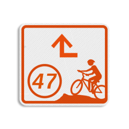 Mountainbikeroutebord 119x109mm met knooppunt en pijl - klasse 3 119x109, Mountainbikeroute, Knooppunt, Knooppuntroute, Route, Mountainbike, huisnummerpaal, MTB, MTB-route, ATB, ATB-route