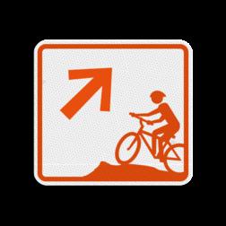 Mountainbikeroutebord 119x109mm met pijl - klasse 3 119x109, Mountainbikeroute, Route, Mountainbike, huisnummerpaal, MTB, MTB-route, ATB, ATB-route