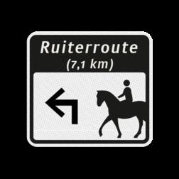 Ruiterroutebord 119x109mm met pijl en tekst - klasse 3 119x109, Ruiterroute, Route, Ruiter, huisnummerpaal