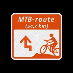 Mountainbikeroutebord 119x109mm met pijl en tekst - klasse 3 119x109, Mountainbikeroute, Route, Mountainbike, huisnummerpaal, MTB, MTB-route, ATB, ATB-route