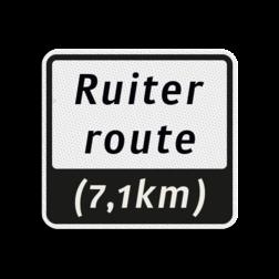 Ruiterroutebord 119x109mm met tekst - klasse 3 119x109, Ruiterroute, Route, Ruiter, huisnummerpaal
