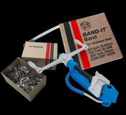 Spanapparaat BANDIT + 30 mtr RVS band + 100 buckels bevestiging, bandimex, spanbandapparaat, klembandapparaat