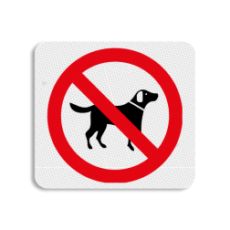 TBH Honden verboden 119x109mm - klasse 3 Terreinbord, 119x109, Hond, Honden, Verboden