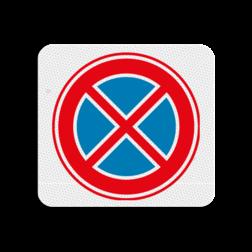 TBV Parkeren en stilstaan verboden 119x109mm - klasse 3 Terreinbord, 119x109, Stilstaan, Verboden, E2, E02