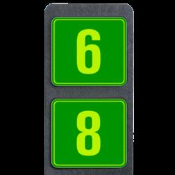 Huisnummerpaal met twee borden fluorescerend + reflecterend 119x109mm buitengebied, huisnummer, nummer, huis, buiten, gebied, paal, Modern, huisnummerbord, Dubbel, Fluor, Huisnummerpaal, Huisnummerpalen