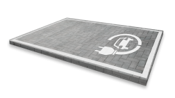 Markering - wegenverf - logo G3-stekker markering, weg, grond, opladen, oplaad, elektrisch, parkeren, wegenverf, thermoplast, groen, blauw, parkeervak, belijning, symbool, pictogram, markeer, terrein, vloer, parkeergarage, garage
