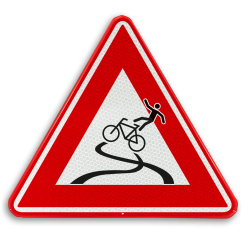 Verkeersbord - slipgevaar fietsers cadeau, kado, fiets, vallen, fietsersbond, rijplaten