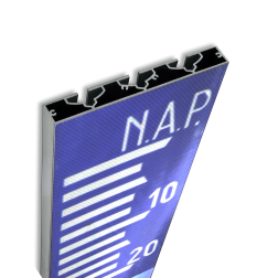 NAP Schaal verzwaard-profiel blauw/wit hoogteaanduiding, waterstand, boven NAP, onder NAP