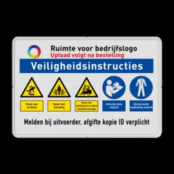 Veiligheidsbord | 5 symbolen + banners Wit, (RAL 9016 - wit), PAS OP!, Terrein betreden op eigen risico, Verboden toegang Art 461, , W002 - Gevaar voor explosieve stoffen, P003 - Vuur, open vlam en roken verboden, M003 - Gehoorbescherming verplicht