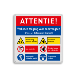 Veiligheidsbord | 6 symbolen + banners Wit, (RAL 9016 - wit), PAS OP!, Terrein betreden op eigen risico, Verboden toegang Art 461, , W002 - Gevaar voor explosieve stoffen, P003 - Vuur, open vlam en roken verboden, M003 - Gehoorbescherming verplicht